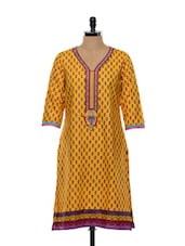 Floral Printed Yellow Cotton Kurti - SHREE