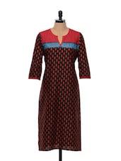 Black And Red Printed Cotton Kurta - SHREE