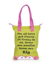 Lime Green Canvas Tote Bag With A Cool Caption And Pink Handles - Greenobag