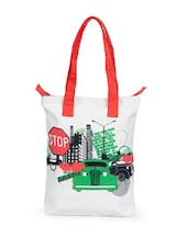 Stylish White Canvas Tote Bag With Car Prints - Greenobag