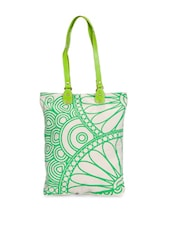Lovely White Tote With Green Floral Print - Greenobag