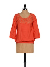 Coral Red Lace Top - Mishka