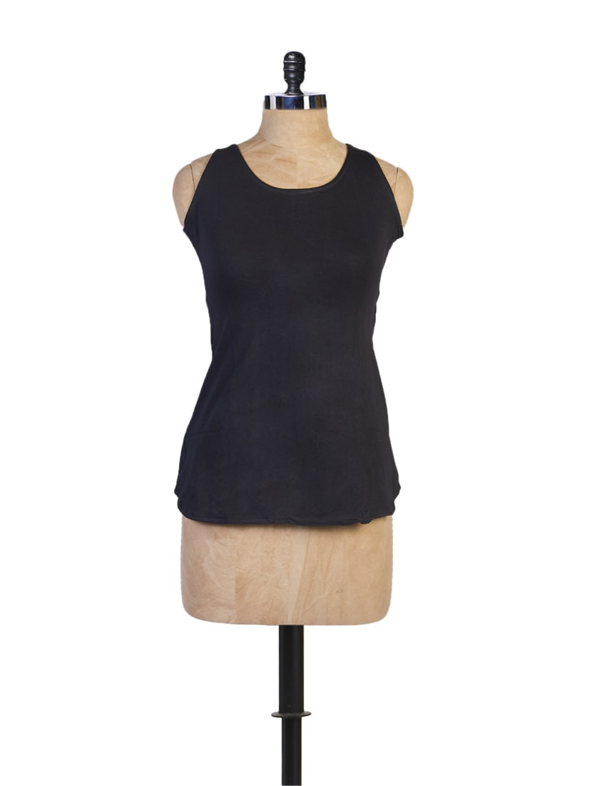 Black Sleeveless Top With Cut-Out Back - Miss Chase