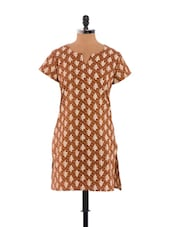 Light Brown And White Printed Kurta - Dora Bella