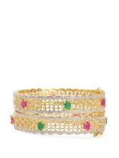 Gold Plated Crystal Studded Bangles With Kundan Stones(set Of 2) - ESmartdeals