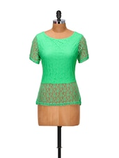 Pigment Green Lace Top - Yepme