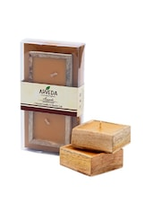 Set Of 2 Scented Wooden Square Bowl Candles - Fragrance World India