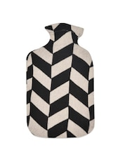 Black And Off-white Geometric Weave Pattern Cotton Knit Hot Bottle Cover - Pluchi