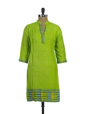 Trendy Green Polka Dotted Printed Cotton Kurta - Purab Paschim