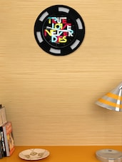 Black Rim Wall Clock With 'true Love Never Dies' Caption In The Center - Cosmos Galaxy