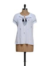 White Cotton Tie-up Top - Feyona