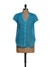 Sheer Blue Shirt Style Top - Feyona