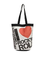 White Quirky Print Trendy Tote Bag - The House Of Tara