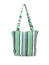 Blue And Green Striped Tote - Art Forte