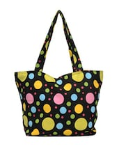 Black Stylish Tote With Multi-coloured Circular Prints - Art Forte