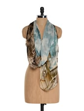 Blue And Brown Vintage Print Scarf - Toscee