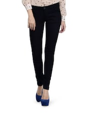 Dark Navy Blue Cotton Lycra Pants - Ursense