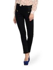 Black Zipper Style Jeggings - Ursense
