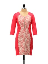 Lace Panel Red Dress - AND