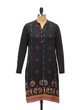 Fish Print Tribal Black Kurti - Global Desi