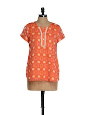 Orange Geometrical Print Top With A Buttoned Placket - Sohniye