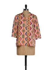 Peach All Over Multi-coloured  Tribal Print Full-sleeved Top - Sohniye