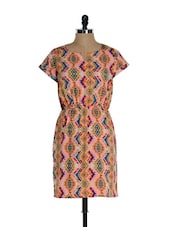 Peach All Over Multi-coloured  Tribal Print Casual Dress - Sohniye