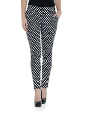 Black And White Polka Dotted Cotton Jeggings - Ozel Studio