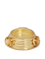 Blingy Gold Metal Tea Light Candle Holder With Stone Embellishments - Ambbi Collections
