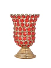 Red Stone Tea Light Candle Holder - Ambbi Collections
