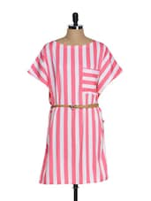 Pink And White Striped Dress - Tops And Tunics