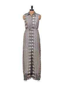 Dull Grey Printed Chiffon Maxi Dress - Femella