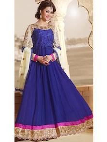 Blue Embroidered Long Anarkali Suit - Khantil