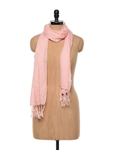 Polyester Peach Tasselled Scarf - Red Lorry
