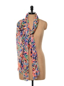 Colourful Block Print Polyester Scarf - Red Lorry