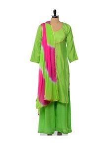 Gorgeous Green Silk Suit With Magenta Trims - KURTAWALA