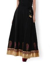 Paisley Print Black Cotton Skirt - 9rasa