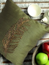 Feather Printed Mehendi Green Cushion Cover - Per Inch