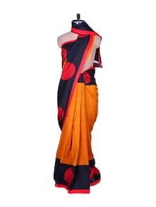 Mustard And Red Classy Silk Saree - Fabdeal
