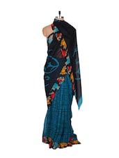 Printed Black And Blue Georgette Saree - Fabdeal