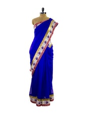 Delightful Bright Part Wear Saree With Silver And Golden Border - Pothys