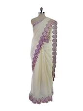 Glamorous White Saree With Stunning Purple Scallop Border - Pothys