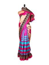 Vibrant Cream And Pink Floral Print Saree - Saraswati