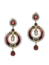 American Diamond Studded Ethnic Danglers - Mirage Creations