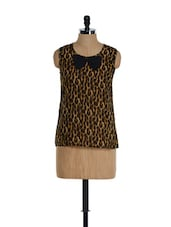 Sleeveless Animal Print Bow Top - Golden Couture