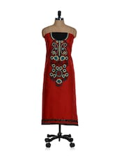 Unstitched Red Cotton Kurta With An Embroidered Placket And A Chiffon Dupatta - Home Of Impression