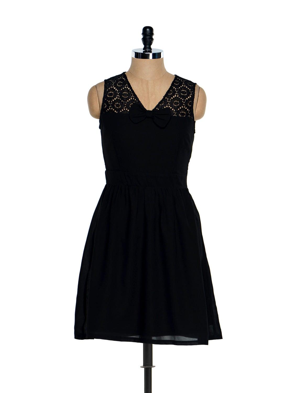 Black Lace Bow Dress - Besiva