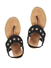 Black Flats With Sequin And Bead Embellishments - Reyna