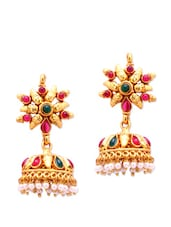 Traditional Jhumkas With Faux Pearls And Stones - Alankruthi