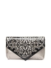 Grey Base Stylish Sling Bag With A Black Laser Cut Flap - 3 MAD CHICKS